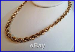14K Yellow Gold 16 Graduated Rope Chain Antique Necklace 21 grams Very Nice