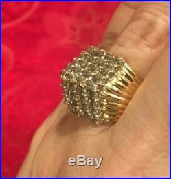 14k Gold 63 Diamond Vintage Ring 12.8 grams Not Scrap Very Nice Solid Ring