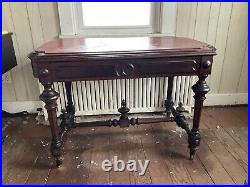1860 Heavily Carved Victorian Library Table Walnut Rennisance Revival Very Nice