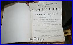 1872 antique family Holy Bible BRASS CLASPS very nice