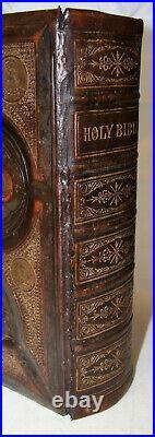 1875 antique family Catholic Bible Douay Rheims VERY NICE