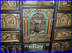 18th C. Vargueno On Stand With Spanish Royal Coat Of Arms Very Nice Condition