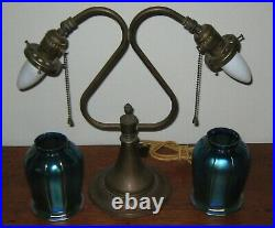 1930's Antique Dual Arm Lamp Estate Item With Cloth Cord Very Nice Condition