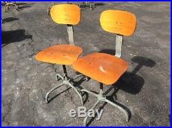2 Same Vintage Wood / Metal Drafting Stools Adjust 15 To 22 Very Nice