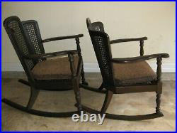 2 Very Nice, Antique, 3 Back Caned Panelled Rocking Chairs