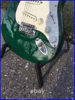 2000 Squier Strat Green Big Headstock Very Nice and Set Up Gig Bag Vintage