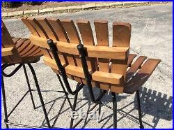 3 Same Vintage Umanoff Style Wood/ Metal 30 Slatted Bar Stools Very Nice