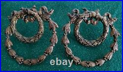 4 Large 3 1/2 Very Nice Antique Fancy Cast Brass Ring Pulls Drawer Pull (n51)