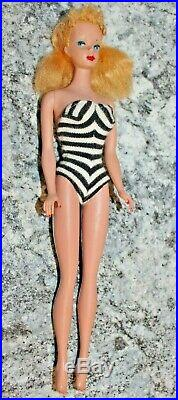 #4 Vintage Ponytail Barbie Doll Lemony Blonde With Oss & Tm Body Very Nice