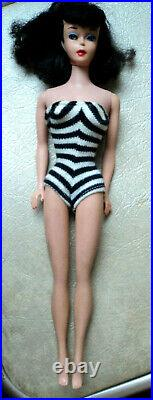 #5 Brunette Barbie Pony Tail Very Nice Doll 60's Full Long Hair Needs Re Done