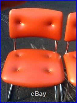 5 Vintage Steelcase Mid Century Modern Chairs -Orange Vinyl & Chrome Very Nice
