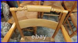 6 Solid Maple Dining Chairs Henkel Harris 1963 Rush Seats Very Nice