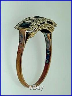 A Ladies Very Nice Quality Antique 18k Goldplatinum Topsapphire & Diamond Ring