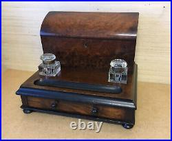 A Very Nice 19th Victorian Antique Burr Walnut Stationary Box Desk Stand