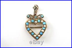 A Very Nice Antique Edwardian 9ct Yellow Gold Turquoise Pearl Heart Pendant