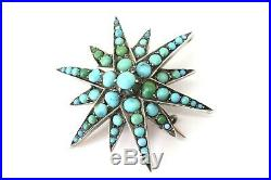 A Very Nice Antique Victorian C1890 Gold Turquoise Starburst Pendant Brooch
