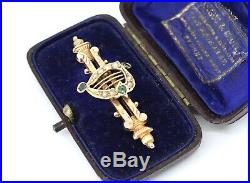 A Very Nice Irish Antique C1916 15ct Rose Gold Emerald Pearl Harp Brooch Boxed