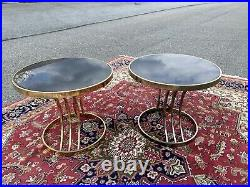 A Very Nice Pair of Post Modern Brass and Black Glass Round Side Tables, 1980's