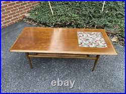 A Very Nice Vintage Mid Century Modern Walnut & Tile Coffee Table WithRattan Shelf
