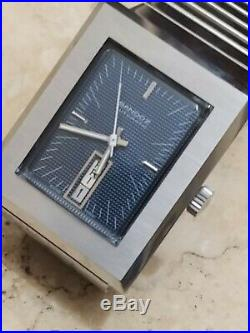 A very nice vintage sandoz squared automatic men wrist watch blue dial