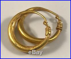 ANCIENT ROMAN-BYZANTINE GOLD HOOP EARRINGS! Very Nice Pair
