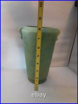 ANTIQUE Vintage Mottled Green Retro ART DECO WELLER Pottery VASE 8 Very Nice
