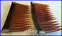 AntIque 2 match TORTOISE SHELL HAIR COMBS VERY NICE SILVER ACCENT beautiful