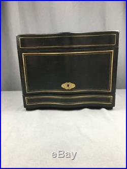 AntQ Tantalus Ebony Brass Inlay Decanters Cordials Tray Very Nice Condition KEY
