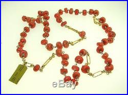 Antique 14k Yellow Gold 34 Long Coral Necklace Very Nice Best Offer