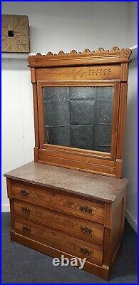 Antique 1850's Marble Top Dresser With Tilt Mirror Vanity Style Very Nice