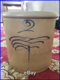 Antique 2 Gallon Drop 8 Salt Glaze Crock RARE Design Red Wing VERY NICE