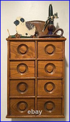 Antique 8 Drawer Oak Spice Apothecary Wall Cabinet VERY NICE