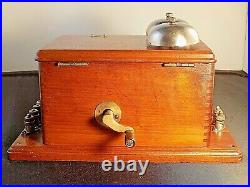 Antique AMERICAN BELL TELEPHONE Co. RINGER BOX Cherry Wood Very Nice Condition