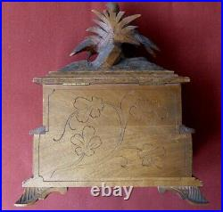 Antique Black Forest Wood Carved Jewelry Box Very Nice