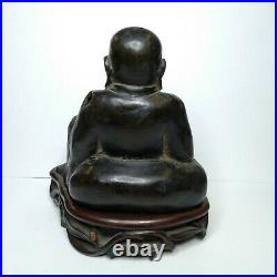 Antique Chinese bronze Happy Buddha, Dynasty Ming. Very nice wooden base