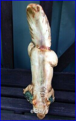 Antique Climbing Hanging Squirrel Figurine Weller Woodcraft Pottery Very Nice