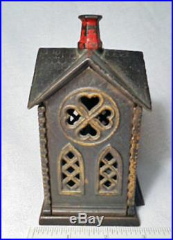 Antique Coin Bank/Very Nice 1882 Cast Iron Villa (Church) by Kyser and Rex