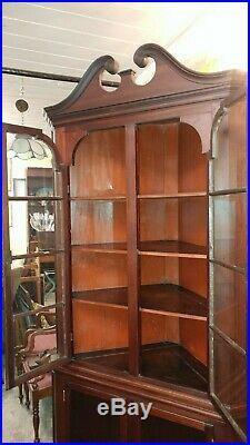 Antique Early Mahogany Corner China Cabinet Very Nice