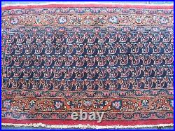 Antique Estate Small Rug Good Pile 1920 Very Nice Blue Colors