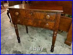 Antique Flame Mahogany 2 Drawer Side Table Very Nice Table