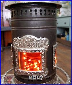 Antique George M. Clark cast iorn chrome plated parlor stove No. 430 VERY NICE
