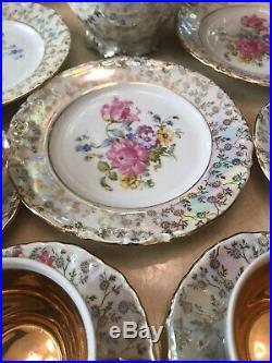 Antique Gorgeous German Dresden Porcelain Tea Set With Gold Trim Very Nice