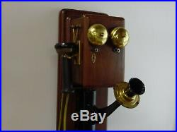 Antique Hand Crank Wooden Wall Telephone very nice
