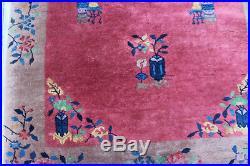 Antique Hand Made Art Deco Nichols Chinese Wool Rug Carpet Very Nice 47 x 81