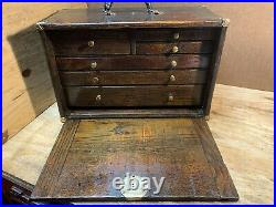Antique Handmade Wooden 6 Drawer Machinist Tool Chest 1800s VERY NICE