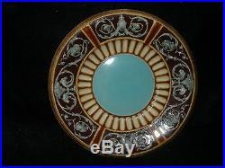 Antique Majolica Pottery Etruscan Design Plate 9 3/4 Diameter Very Nice
