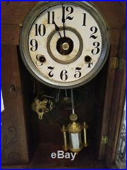 Antique New Haven Gothic Mantle Clock UNIQUE PENDULUM VERY NICE! RUNS