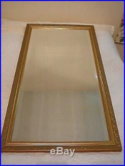 Antique Ornate Gold Decorated Rectangular Framed Beveled Mirror, VERY NICE