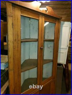 Antique Primitive Corner Cabinet Very Nice Has Old Glass