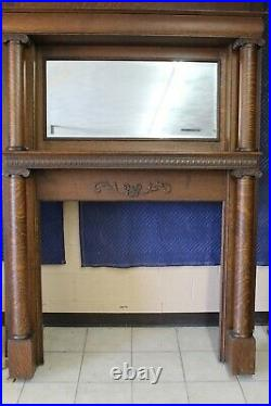 Antique Quarter Sawn Very Nice Fireplace Mantle With Columns Circa 1895